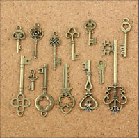13pcs Antique Bronze Alloy Small Keys Pendant Jewelry Findings Charms