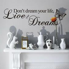 """Removable """"Live Your Dream Butterfly"""" Wall Sticker Art Proverbs Room Decoration"""