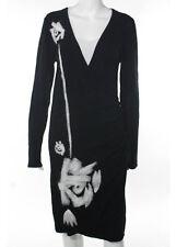 SAO PAULO Black Long Sleeve Wrap Front Knee Length Stretch Knit Dress Sz 8
