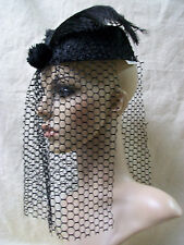 Black Pillbox Costume Hat Veil Vintage Style 60's Gothic Widow Bride Steampunk