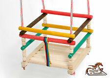 BRAND NEW INDOOR OUTDOOR GARDEN WOODEN ROPE SWING SEAT 4 KIDS BABY CHILDREN!