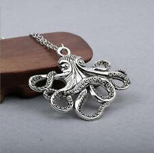 Octopus Necklace Steampunk Nautical Squid Kraken Pirate antique Silver Jewelry !