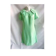 Vintage 60s Dress Size XL Mint Green Silver Mod Cocktail Shift 70s Linen