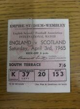 03/04/1965 Ticket: England Schools v Scotland Schools [At Wembley] Pink/White Ti