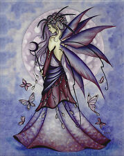 LAVENDER MOON Fairy Ceramic Art Wall Tile Jessica Galbreth faery faerie plaque