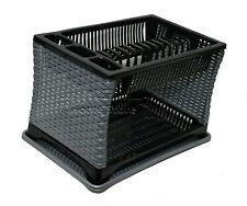 Diseño moderno 2 capa de plástico Plato Escurridor Rack Utensilio Cubertería de plata-negro ST