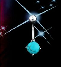 316L  Surgical Steel Blue Turquoise Navel Gem Bar Ring Belly Button Ring TI00087