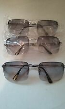 SUNGLASSES SHADED GRAY LARGER STYLE LENS SILVERTONE ARMS #044-B
