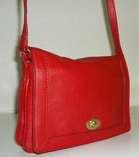 J. Crew Edie Red Pebble Leather Turn Lock Flap Small Crossbody Bag Purse