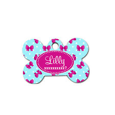Custom Pet Tag - Sky Blue and Hot pink ribbons monogrammed dog or cat tags - 05