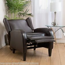 Living Room Furniture Wingback Design Espresso Leather Club Chair Recliner