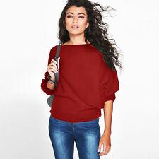 New Womens Oversized Batwing Sleeve Baggy Sweater Jumper Tops Sweatshirt Outwear