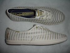 Keds Women Casual Shoe Size 10 White Gold  Lace New Shoes  -aa