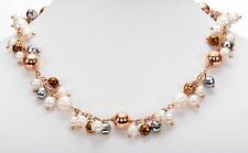 """Honora Cultured White Pearl Rose Bronze Bead dangle Necklace 18""""L + 2"""" extender"""