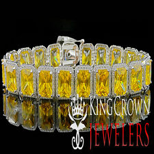 14K WHITE GOLD OVER REAL SILVER CANARY CITRINE TOPAZ LAB DIAMOND MENS BRACELET