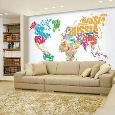Political Typographic Map of the World in Full Color - Wall Mural - 66x96 inches