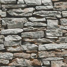 MOROCCAN WALL NATURAL SLATE STONE WALLPAPER ARTHOUSE VIP 623000 GREY BRICKS