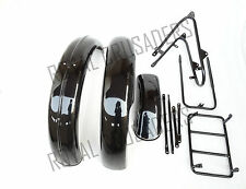 NEW NORTON 16H BLACK PAINTED FRONT AND REAR MUDGUARD SET WITH COMPLETE STAY KIT