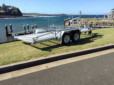 CARM14T, Galvanised Car Trailer, Flat Deck, Dual Axle, Ramps, New Rims & Tyres