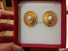 Brand new large gold clip-on earrings with pearl centres and gift box