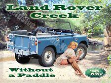 Land Rover Creek, Classic mk1 Off road 4x4 Pin Up Girl, 05 Medium Metal/Tin Sign