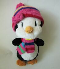 The Childrens Place Penguin Girl Soft Black White Plush Pink Knit Hat Scarf 12""