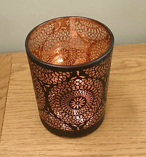 Marocchino Marrakesh STYLE rame interni tagliati uragano CANDELA TEALIGHT Holder