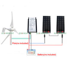 700W/H Max Hybrid Kit:400W Wind Turbine Generator&2*160W Solar Panel Home Power