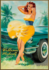 Wall Calendar 2017 [12 pages A4] Pinup Sexy Girl and Classic Cars Medcalf M737