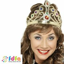 JEWELLED QUEENS CROWN CHRISTMAS GOLD/SILVER ASST.  ladies fancy dress costume