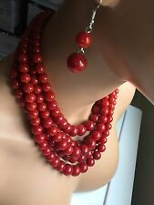 Dark Red Maroon Pearl Multi Layered Strand Bead Chunky Jewelry Necklace Set