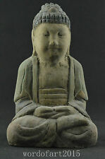 Rare China Collectible Old Wood Buddha Monk Consecrate Temple Figure Statue