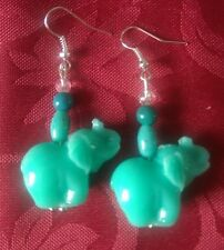 Acrylic coral effect turquoise blue elephants, silver plated 27x20mm. hook (278)
