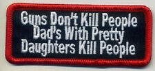 GUNS DON'T KILL PEOPLE EMBROIDERED IRON ON BIKER PATCH
