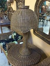 Beautiful Brown Wicker Rattan Tropical Tulip Table Lamp 3 Colors Available New