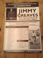 JIMMY GREAVES TOTTENHAM HOTSPUR ORIGINAL HAND SIGNED AN EVENING WITH POSTER