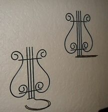 NICE PAIR OF METAL MUSICAL CLEF SIGN CANDLE OR POTTED PLANT POT WALL HOLDER