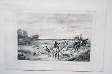 Lithographie originale de Victor Adam - Sortie de l'Eau du Cerf - XIXème