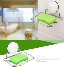 Stainless Strong Suction Wall Soap Holder Dish Basket Tray Bathroom Shower Cup