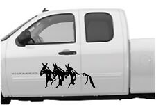 "Running Mules Vinyl Decal Stickers Horse Trailer Truck 10x22"" Set of 2"
