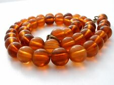 "Vintage Genuine Baltic Amber Bead Necklace 16"" Stand of Handmade Natural Beads"