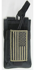 Black MOLLE Radio Pouch + USA FLAG Patch Fits Yaesu VX-170 FT-60R FT250R FT270R