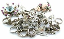 200.9 Grams Assorted Ring Pin Findings  Material Sterling Silver Scrap S1