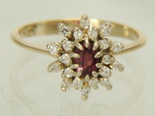 14K Yellow Gold Natural Ruby & Natural Diamond Cocktail Ring Size 6