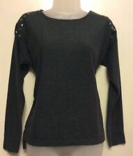grey top with studded shoulders size 8