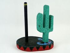 VTG Mexican Colorful Paper Towel Holder Vibrant Hand Painted Cactus Gecko Wood