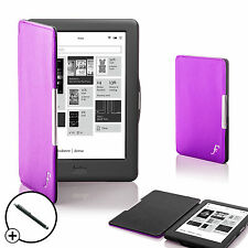 Leather Purple Smart Shell Case Cover for Kobo Glo HD eReader + Stylus