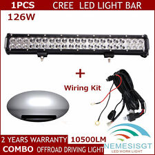 126W 20inch CREE Flood Spot Combo Beam Led Work Light Bar With Wiring Harness US