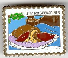 1981 Grenada 1 Cent Stamp Pin Disney Lady and the Tramp Christmas MIP