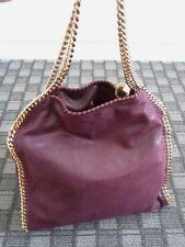Stella McCartney NWT Falabella Shaggy Dear Whipstitched Gold Chain Tote Plum